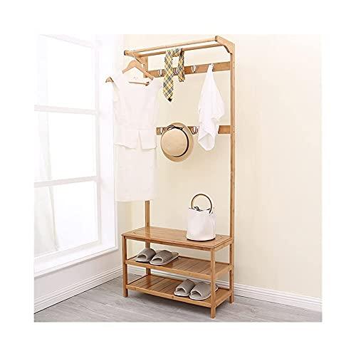 Zapatero de madera 3 en 1, estante de almacenamiento para la entrada del árbol, organizador de muebles para sala de estar, armario, zapatos (color: marrón, tamaño: 90 cm)