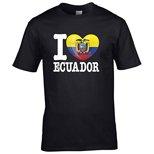 FanShirts4u Kinder T-Shirt - I Love Ecuador - WM Trikot Liebe Herz Heart (3/4 Jahre 98-104 cm, I Love Ecuador - Schwarz)