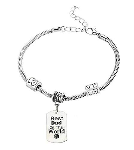 Armband - hanger - armband - familie - medaillon - bestin de wereld - man - beste vader ter wereld - vrouw - unisex - zilver - vaderdag best friends best dad in the world