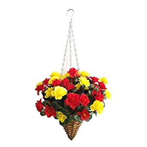 Fake Flower Azalea Hanging Wicker Cone Basket Artificial Flowers Rhododendron Red and Yellow
