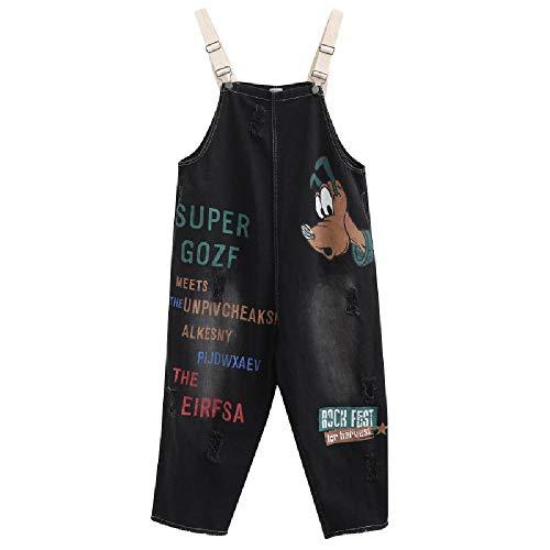 SKJJKT SKJKT Oversized Jeans für Damen, Herbst New Koreanischer Spezieller Loser Print Personalisierte Allround-Jeansriemen-Hosen Gr. XXL, Schwarz