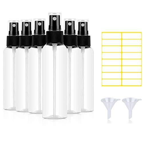 Sprühflasche klein, 100ml Nachfüllbar Plastik ZerstäuberSprayflasche leer, Durchsichtig Parfümzerstäuber mit Trichtern und Etikett (6 stück)