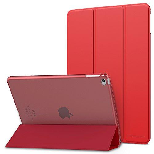 MoKo Funda para iPad Air 2 - Ultra Slim Función de Soporte Protectora Plegable Smart Cover Trasera Transparente Durable para Apple iPad Air 2 (iPad 6) 9.7 Pulgadas, Rojo (Auto Sueño/Estela)