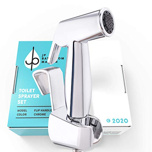 JP's Handheld Bidet Sprayer for Toilets, Bidet and Diaper Sprayer Attachment Installs In Ten Minutes for Home or Rentals, Complete DIY Kit with Adjustable Pressure T-Valve (PALM CONTROL)