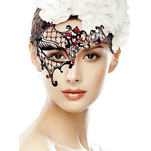 ANGAZURE-DE Venezianische Maske, Metall Masken Sexy Spitze Venezianische Faschingsmasken Maskerade