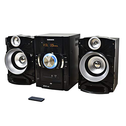 Magnavox MM440 3-Piece CD Shelf System with Digital PLL FM Stereo Radio, Bluetooth Wireless Technology, and Remote Control in Black | Blue Colored Lights | LED Display | AUX Port Compatible |