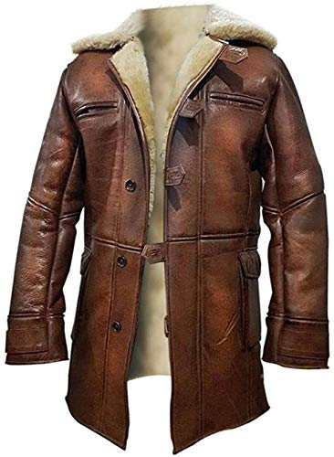 LP-Facon Bane Dark Knight Rises Tom Hardy Fur Shearling Distressed Brown Trench-Ledermantel Gr. XX-Large, Real Leather