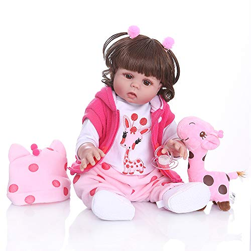 W.KING Reborn Baby Doll Simulation Curly Hair 49CM bebte Puppe Reborn Kleinkind Mädchen Puppe im rosafarbenen Kleid Ganzkörper weiches Silikon realistisch Baby-Bad-Spielzeug wasserdicht