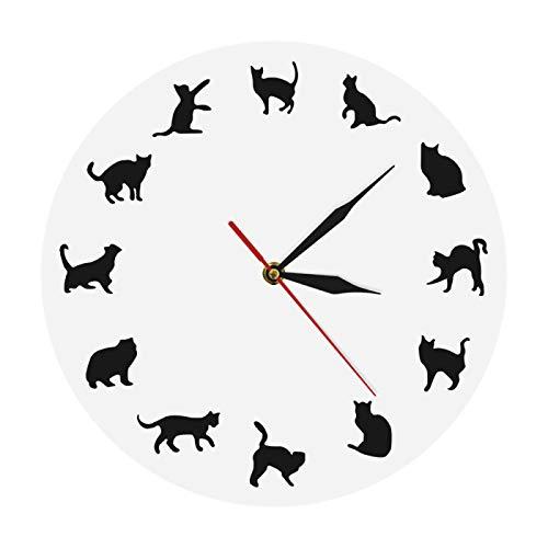 yage Precioso Reloj de Pared con Gato Negro, Reloj Redondo con Silueta de Animales, icónico Gatito, Tienda de Mascotas, Reloj Decorativo de Arte de Pared para Regalo de Propietario de Gato