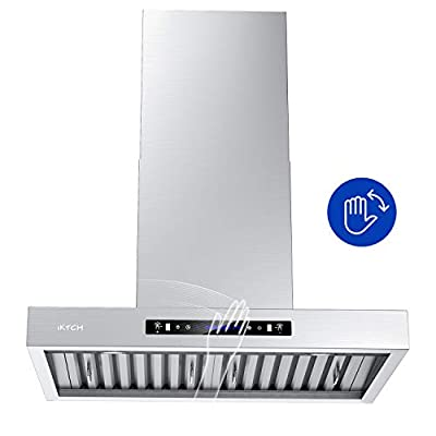IKTCH 30 inches Wall Mount Range Hood, 900 CFM Stainless Steel Kitchen Chimney Vent with Gesture Sensing & Touch Control Switch Panel, 2 Pcs Adjustable Lights, 2 Pcs Baffle Filter IKP01-30