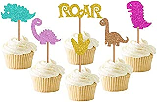 Baby Dinosaur Cupcake Toppers, Glitter Dinosaur Cupcake Toppers for Kids Birthday Baby Shower Party Decorations Supplies (...