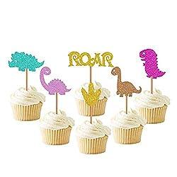 7. Faisichocalato Baby Dinosaur Glitter Cupcake Toppers (24 Pack)
