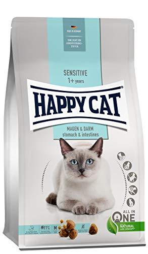 Happy Cat 70596- Sensitive Magen & Darm - Katzen-Trockenfutter mit Ente für Sensible Katzen und Kater - 1,3 kg Inhalt
