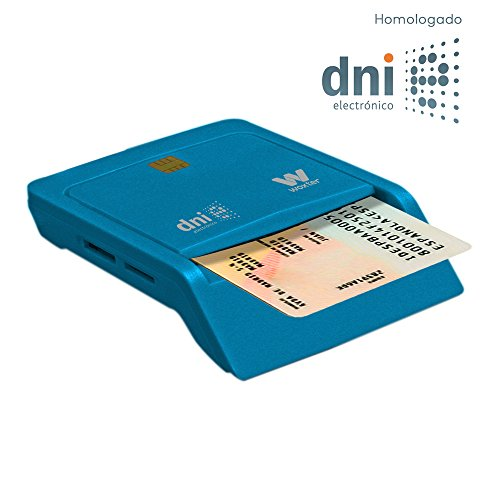 Woxter Lector Dni Combo -  Lector DNI electrónico,  Compatible con Las Tarjetas Smart Cards o Tarjetas Inteligentes,  con 3 Ranuras para Tarjetas,  Color Azul