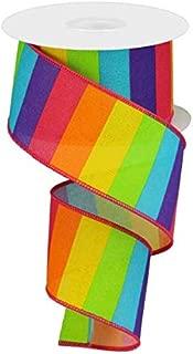 Rainbow Horizontal Stripe Canvas Wired Edge Ribbon - 10 Yards (Neon Multi, 2.5