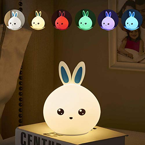 LED Night Light Kids Gift - Bunny Rabbit Bedside Lamp Tap Control Touch Sensor 7 Colors Portable USB Rechargeable Cute Animal Silicon Lamp for Children Baby Infant Toddler Atmosphere lamp