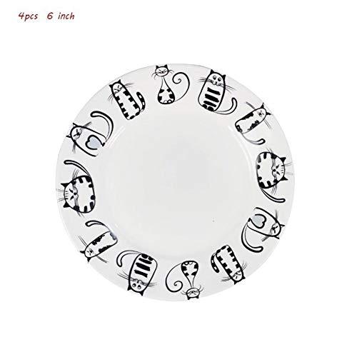 MISDD Nordeuropa 6/7/8 Zoll Keramik Cartoon Kitty Platte Snack Geschirr Keramik Platzteller Western-Stil Lebensmittel (Color : 4pcs 6inch)