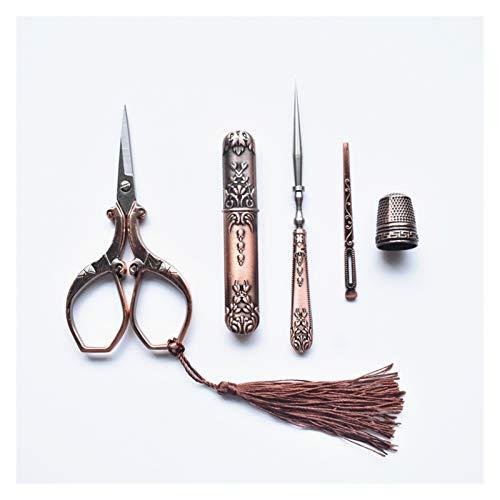 JINSUOZY DXXLD - Juego de tijeras retro con tijeras vintage y tubo de almacenamiento de agujas, punzón, enhebrador, bordado dedal, suministros de costura (color: tijeras rojas juego de 5)