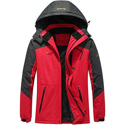 FEDTOSING Winterjacke Herren Wasserdicht Winddichte Übergangsjacke Fleece Futter Softshell Jacke Warme mit Abnehmbarer Kapuze(EURed S)