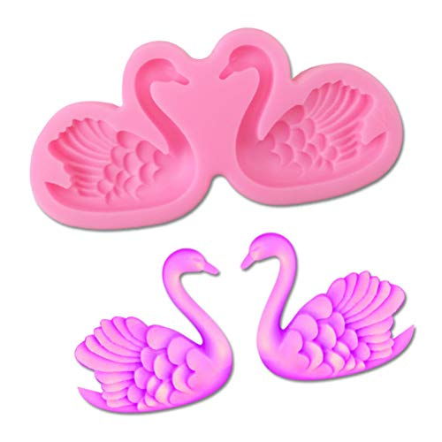 1PC Cute 3D Beautiful Swan Silicone Mold for DIY Pudding Chocolate Crystal Candy Desserts Ice Cube Gum Paste Cupcake Cake Topper Decoration Soap Mould Handmade Ice Cream Fondant Mold Jelly Shots