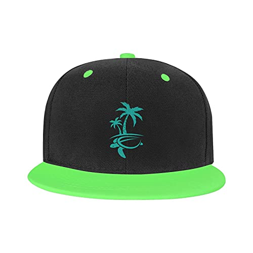 Hawaiian Palm Tree and Sea Turtle Fashion Cool Boutique Gorra de béisbol Unisex Print As Hip Hop Blanco Snapback Sombreros, verde, Talla única