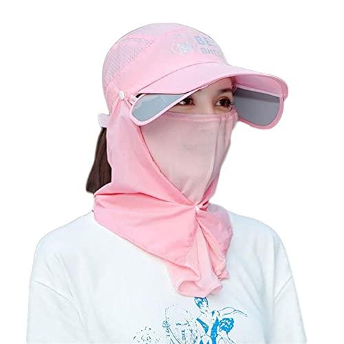Sommer Gesichtsschutz Sonnenschutz Full Face Sun Hut Reiten Fahrrad ohne Umdrehen Sonnenhut Weibliche Hut Gesicht Schutz Volles Gesicht (Größe : Pink-1)