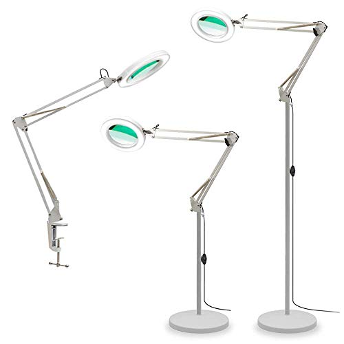 TOMSOO 3-in-1 Magnifying Glass Floor Lamp with Clamp, White/Warm White Lighted Magnifier Lens - Adjustable Swivel Arm & Stand - Full Spectrum LED Light for Reading, Crafts, Desk, Sewing (White)