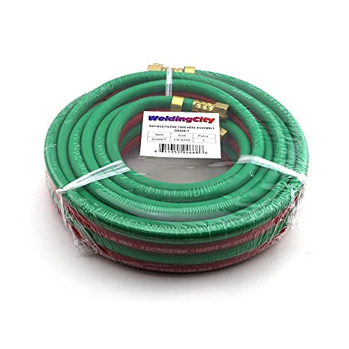 WeldingCity 25-ft Grade-T Red and Green Rubber Twin Hose 1/4' B-B Fittings for Oxygen/Acetylene, Propane and Other Alternative Fuel Gas in Welding, Cutting and Heating
