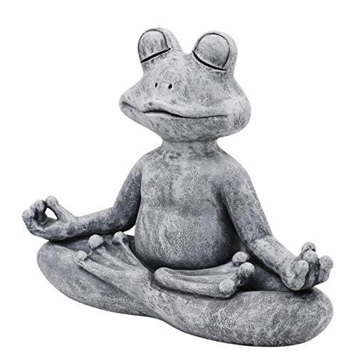 Meditation Frosch Statue - Meditierender Frosch Zen Garten Yoga Figur Poly Resin Office Yard Dekoration Ornament Outdoor Skulptur, 9,5x13X5,5cm (Grau)