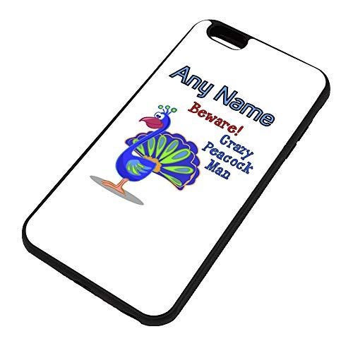 UNIGIFT - Carcasa para iPhone 6 y 6S Plus, diseño de pavo real con texto en inglés 'Crazy Peacock Man + funda (diseño de animal), diseño de pájaro de belleza