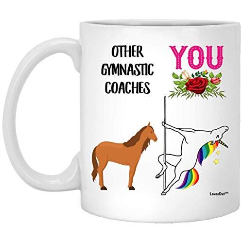 N\A Funny Best Gymnastic Coach Unicorn Congrats - Taza de café Blanca de 11 oz