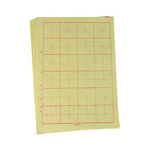 Healifty 150 Blatt chinesisches Kalligraphie-Papier, Gitter, Xuan-Papier, für chinesische Kalligraphie, Bürste, Tinte, Anfänger, Sumi Set