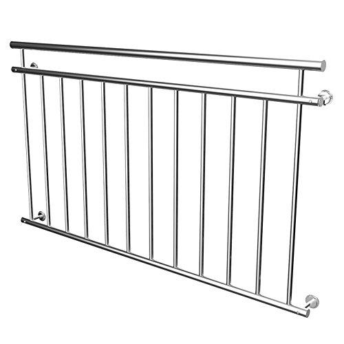 MCTECH® 156 x 90 cm Edelstahl Französischer Balkon Geländer Balkongeländer Geländer Stabgeländer