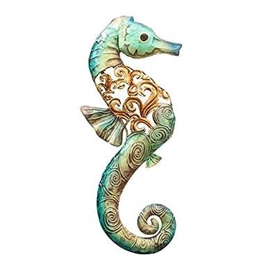 Metal and Capiz Art Decor, Seahorse Wall Sculpture Right 15 , Nautical Beach Themed Coastal Decoration Made of Real Capiz Shell