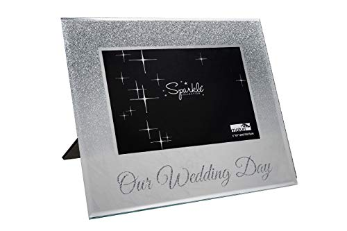 Maturi Mirrored Silver Glitter 6 x 4 Inch Photo Frame Our Wedding Day, 6x4