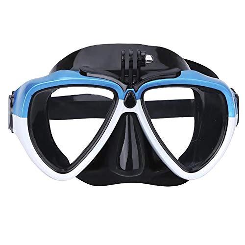 ZoSiP Maschere Immersione Snorkeling Diving Silicone Vetro con Staccabile Montaggio Telecamera Subacquea Scuba Snorkel Occhialini da Nuoto (Color : Blue, Size : One Size)
