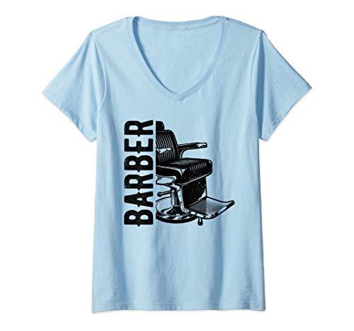 Damen Friseur Barber Friseurstuhl Geschenk Haarschnitt Hairstylist T-Shirt mit V-Ausschnitt