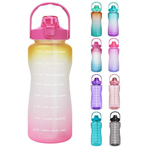Opard Trinkflasche, BPA Frei Wasserflasche mit Strohhalm, 1-klick Verschluss Auslaufsichere Water Bottle, Zeitmarkierung Sportflasche (Gelb Pink)