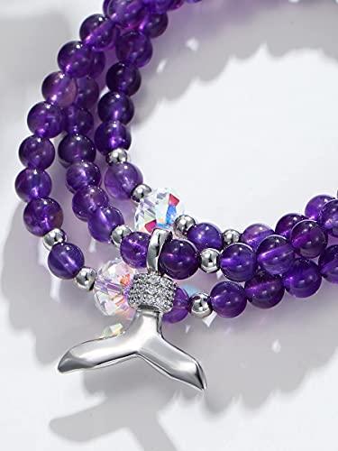 HTGUDE Pulsera de Moda Joyería de cumpleaños, Platino Chapado en Cola de Cola de decoración Pulsera con Cuentas para los Regalos de Las Mujeres. (Color : Purple, Size : One-Size)