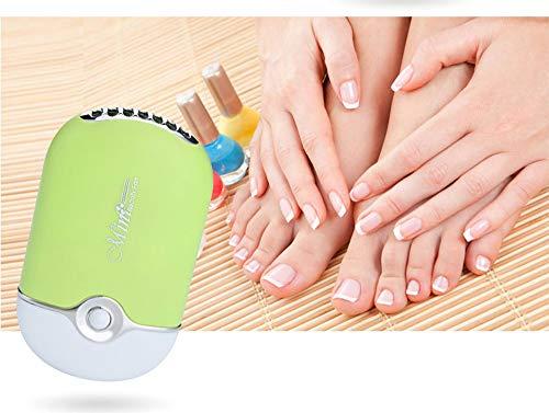 WOkismx USB Mini Ventilateur Portable Rechargeable Electrique sans Feuille De Greffe De Greffe Extension De Cils Séchoir Gel pour Faux Cils Extension et Miroir De Maquillage,Green