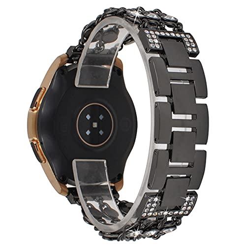HGNZMD Pulsera De Repuesto Compatible con Galaxy Watch 42 Mm, Bandas De Acero Inoxidable Pulseras De Metal Eslabones Joyería Correa con Purpurina Compatible con Galaxy Watch 42 Mm,Negro