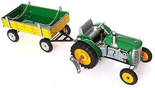wps Traktor mit Anh er mit Federwerk-Antrieb, Grün - Mechanisches Blechspielzeug