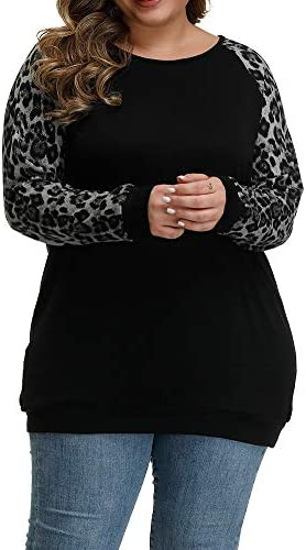 Allegrace Women s Plus Size Tunic Tops Soft Lightweight Knit Long Sleeve Shirts Color Block product image