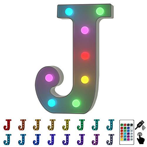 YOUZONE Buchstabenlichter, USB-betrieben, beleuchtete Buchstaben mit Fernbedienung, 16 wechselnde Farben, für Zuhause, Bar, Schlafzimmer, Party, Hochzeit, Weihnachtsdekoration (A) J