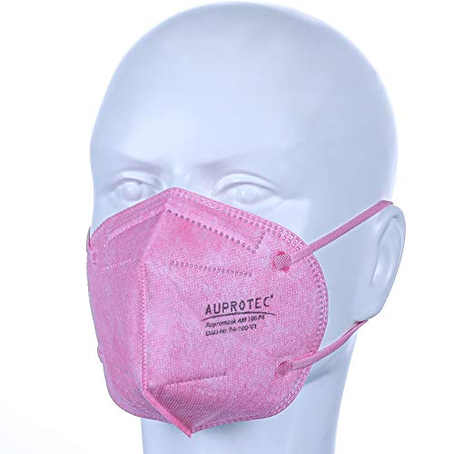 AUPROTEC 10 Stück AM-100-P4 Mehrweg Mundschutz Maske mit innen liegendem Vlies 5 lagig sehr gut für Mund- und Nasenschutz pink