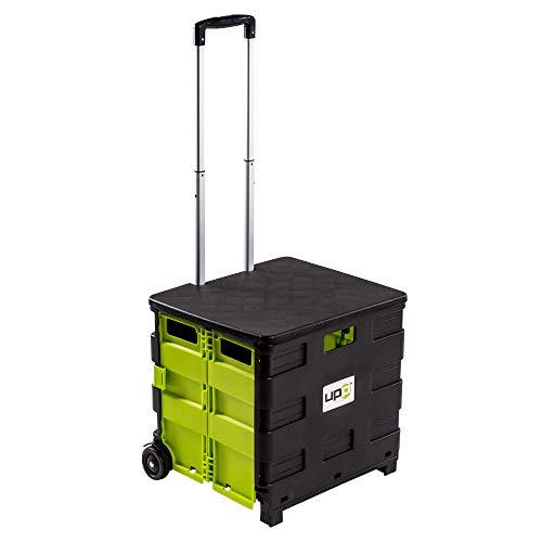 UPP Shopping Cart mit Deckel I Einkaufstrolley faltbar auf 8 cm Höhe I Handwagen mit großer 50 L Klappbox I Einkaufswagen mit integriertem Sitz und Teleskopgriff