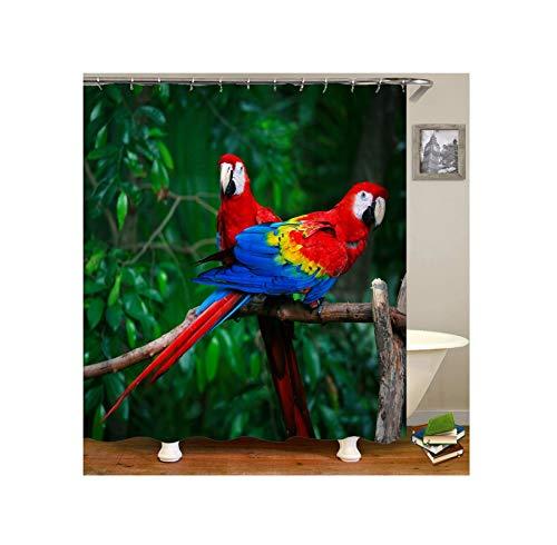 Anyeda Duschvorhang Polyester Roter Papagei Wasserdicht Grün Duschvorhang 180X200Cm
