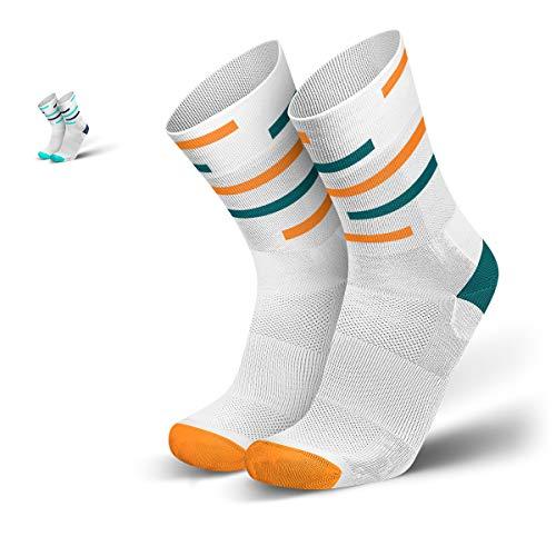 INCYLENCE Motions Kompressionssocken lang, leichte Sportsocken, atmungsaktive Funktionssocken mit Anti-Blasen Schutz, Triathlon Socks, weiß, petrol, orange, 43-46