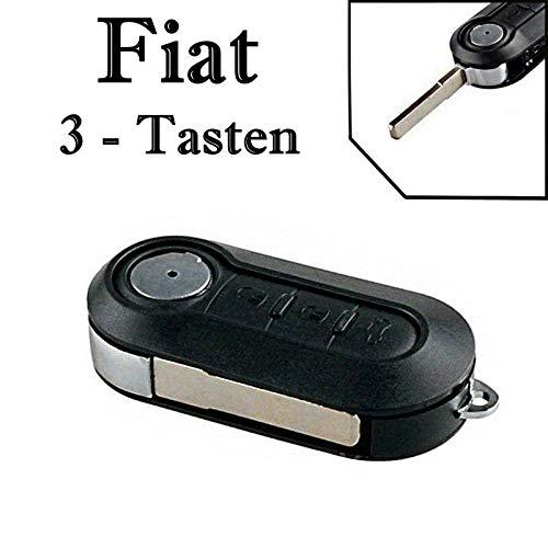 1x Ersatz Klappschlüssel Auto Schlüssel Gehäuse für 3 Tasten Funk Fernbedienung mit Rohling - FIAT_KS11 Neu