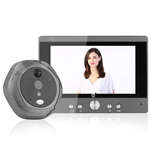 Visor de Puerta, 5 Pulgadas WiFi Intercomunicador Digital Timbre de Puerta Mirilla de la Puerta Seguridad para el hogar con visión Nocturna, Control Remoto, Sistema de Habla bidireccional(110-240v)